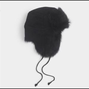 Jcrew BLACK shearling trapper hat